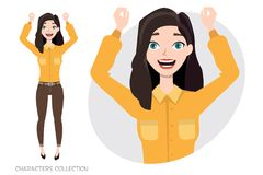 Beautiful young woman rejoices and happy. Stock Images