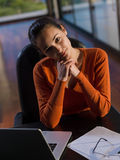 Beautiful young woman relax and work on laptop Stock Photo