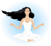 Beautiful young woman relaxation isolated in yoga Royalty Free Stock Photography