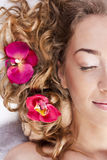 Beautiful young woman relaxed, in the spa salon Stock Photo