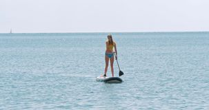 Beautiful young woman relaxes on a SUP board stock footage