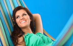 Beautiful Young Woman relaxing in hammock Stock Photos