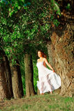 Beautiful young woman relaxing outdoors royalty free stock photos