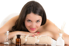 Beautiful young woman relaxing in spa Royalty Free Stock Photos