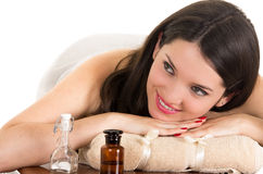 Beautiful young woman relaxing in spa Royalty Free Stock Image