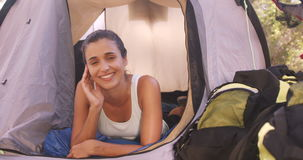 Beautiful young woman relaxing stock footage