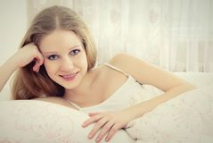 Beautiful young woman rests and relaxes Stock Images
