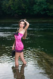 Beautiful young woman in the river Royalty Free Stock Photo