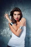 Beautiful young woman in a rock style Royalty Free Stock Photos