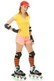 Beautiful young woman on roller skates Stock Photos