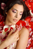 Beautiful young woman In rose's petals Royalty Free Stock Images