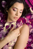 Beautiful young woman In rose's petals Royalty Free Stock Photos