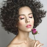 Beautiful young woman with rose. Studio fashion photo of beautiful young woman with violet rose.  Valentines day. Spring blossom Stock Photos