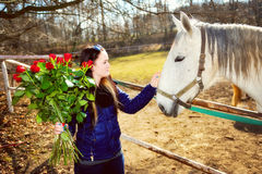 Beautiful young woman with roses and white horse Royalty Free Stock Photo