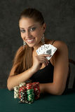 Beautiful Young Woman with Royal Flush. Poker Hand Royalty Free Stock Images