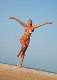 Beautiful young woman running Stock Photos