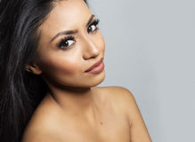 Beautiful young woman`s face and bare skin Royalty Free Stock Images