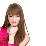 Beautiful young woman's face with copy space Royalty Free Stock Photos