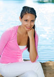 Beautiful young woman's natural faca Stock Photo