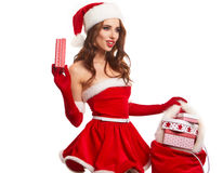 Beautiful young woman in Santa Claus clothes . Royalty Free Stock Photography