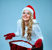 Beautiful young woman in Santa Claus clothes Royalty Free Stock Photos