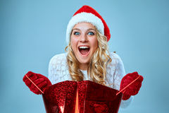 Beautiful young woman in Santa Claus clothes Royalty Free Stock Photography