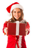 Beautiful young woman in santa claus dress standing isolated ove Royalty Free Stock Photo