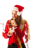 Beautiful young woman in santa claus dress standing isolated ove Royalty Free Stock Photography