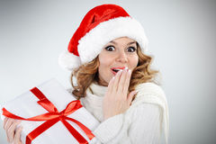 Beautiful young woman in Santa hat Royalty Free Stock Images