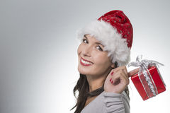 Beautiful young woman in a Santa Hat Stock Photo