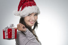 Beautiful young woman in a Santa Hat Stock Photos