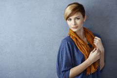 Beautiful young woman in scarf Stock Photos