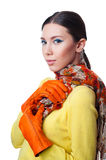 Beautiful young woman in scarf and gloves Royalty Free Stock Photography