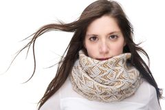 Beautiful young woman with scarf isolated on white background Stock Photo