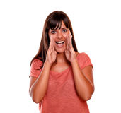 Beautiful young woman screaming at you Royalty Free Stock Image