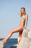 Beautiful young woman at sea Royalty Free Stock Photography