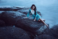 Beautiful young woman on sea Royalty Free Stock Photos