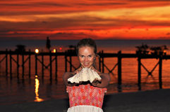 Beautiful Young Woman with Seashell Royalty Free Stock Photo