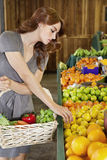 Beautiful young woman selecting fruit in market Stock Image