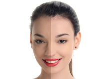 Beautiful young woman with sexy red lips smiling before and after retouching with photoshop. Stock Images
