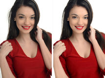 Beautiful young woman with sexy red lips smiling before and after retouching with photoshop. Stock Photos