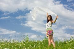 Beautiful young woman with a shawl Royalty Free Stock Photos