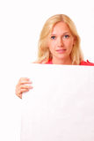 Beautiful young woman with a sheet of paper Royalty Free Stock Photo