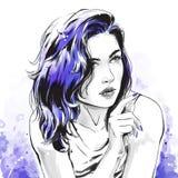 Fashion illustration, portrait of beautiful woman stock illustration