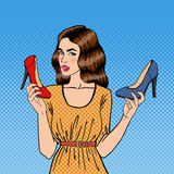 Beautiful Young Woman with Shoes. Girl Choosing Shoes, Pop Art. Vector Royalty Free Stock Photo