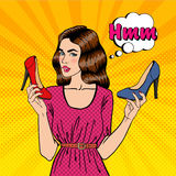Beautiful Young Woman with Shoes. Girl Choosing Shoes, Pop Art. Vector Royalty Free Stock Photography