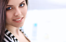 Beautiful young woman in shop Royalty Free Stock Images