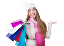 Beautiful young woman with shopping bags. Royalty Free Stock Image