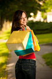 Beautiful young woman with shopping bags in the city Stock Image