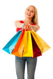 Beautiful young woman with shopping bags consumerism isolated ov. Er white backgeeound Stock Photo